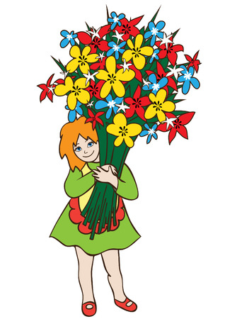 Illustration of a smiling little girl in dress with a huge bouquet of flowers.