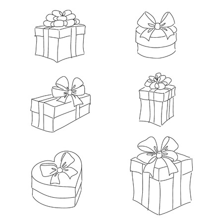 Gift boxes contour clipart isolated