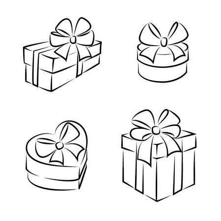 ギフト ボックス アイコンやシンボル、黒と白の分離  イラスト・ベクター素材