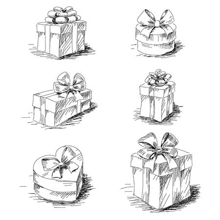 Gift boxes sketch collection isolated Ilustracja