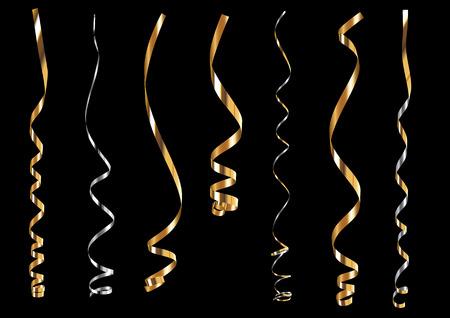 貴重な金と銀のカーリング リボンやパーティーの蛇紋岩  イラスト・ベクター素材