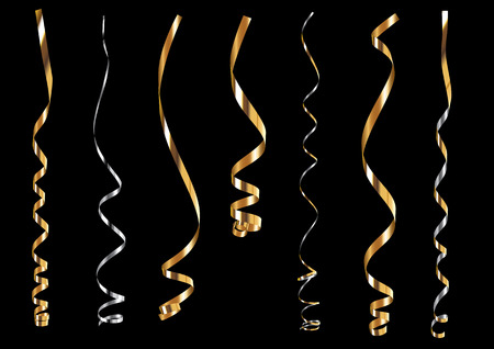 Precious gold and silver curling ribbons or party serpentine Illustration