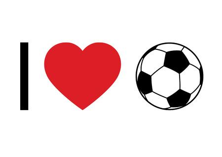 pelota de futbol: Concepto del balompié 'I Love Football' para la impresión o diseño