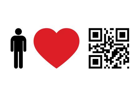 QR Code design concept People Love QR Code Vector