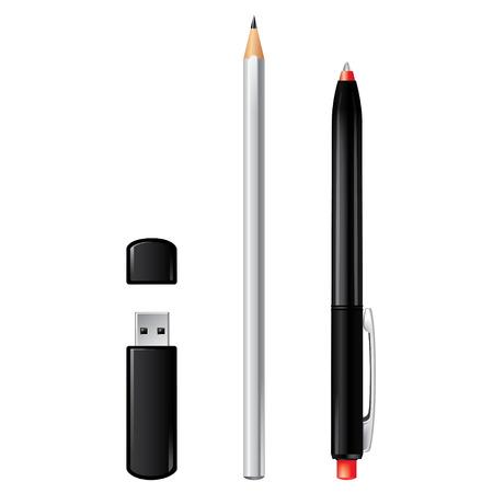 USB-Stick oder Modem, Bleistift und Feder Vektor-Set isoliert auf weiß. Standard-Bild - 39106325