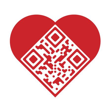 Lesbare rote künstlerische QR Code in Form von Herzen Standard-Bild - 39106326