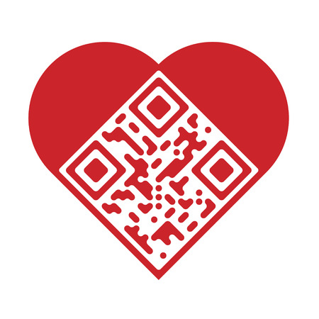 Readable red artistic QR Code in shape of heart Vector