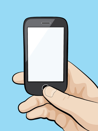 Illustration of a mobile phone in the male hand close-up.