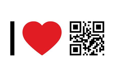 qr code: QR Code design concept I Love QR Code