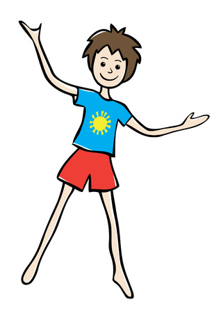 Illustration of a happy smiling little boy in red shorts and blue t-shirt with raised hands. Ilustracja