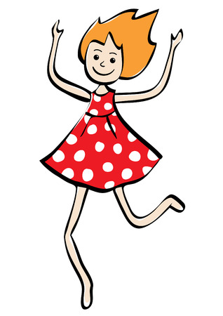 Illustration of a smiling little girl in red dress running with raised hands. Ilustracja