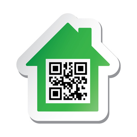 """Real estate signboard or sticker with """"House for sale"""" data in qr code."""