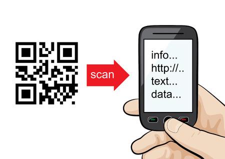マニュアルまたは概念: qr コードをスキャン男性の手に携帯電話。
