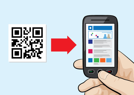 Illustration of mobile phone in the male hand scanning qr code with website hyperlink inside.