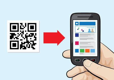 Illustration von Handy in der männlichen Hand Scan QR Code mit Website Hyperlink innen. Standard-Bild - 39106335