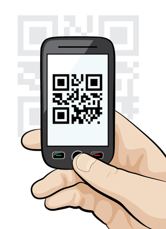 Illustration of a mobile phone in the male hand scanning qr code. Stock Illustratie