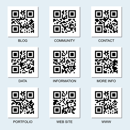 Vector collection of Internet related qr codes for your design.