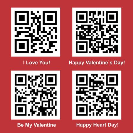 バレンタインの日の愛と読みやすいベクトル マイデザインの QR コード コレクション