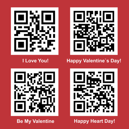 Love and Valentine Day readable vector QR Code collection for your design