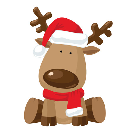 renna: Renna bambino seduto in cappello rosso di Natale con la sciarpa rossa