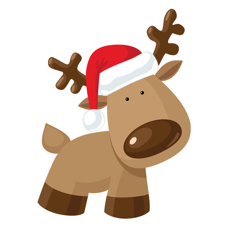 Christmas reindeer standing in Santa`s hat Illustration