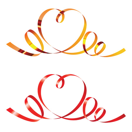 Gold and red curling ribbons in shape of heart Ilustracja