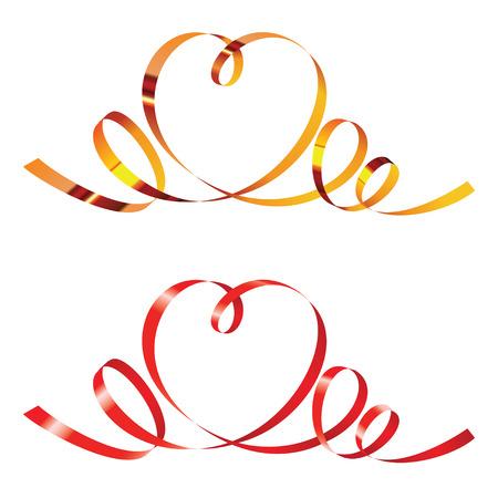Gold und Rot Curling Bänder in Form von Herzen Standard-Bild - 39106341