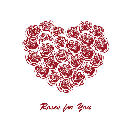 Greeting card with red roses in the shape of heart with place for your text