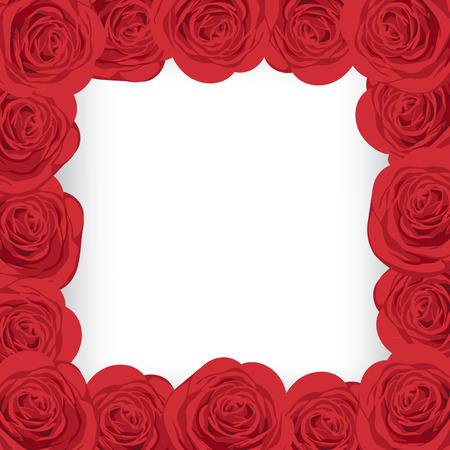 あなたのテキストのための場所で赤いバラのフレーム。