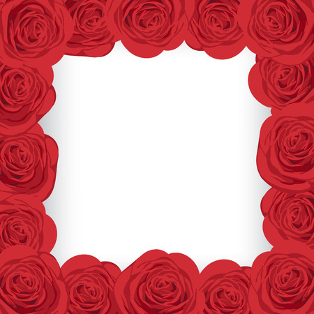 Red roses frame with place for your text.