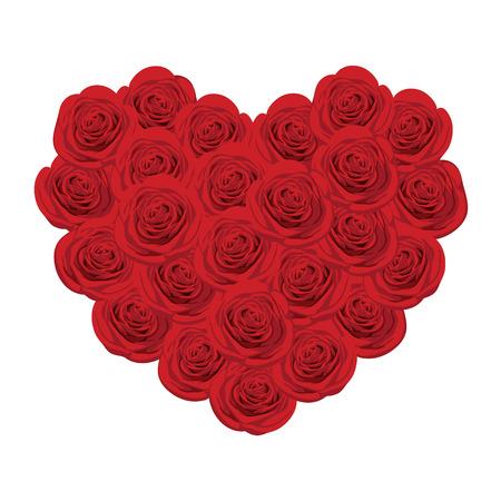 ハートの形をした赤いバラのイラスト