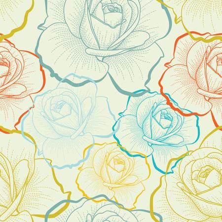 Farbe nahtlose Muster mit Hand Zeichnen Rosen Standard-Bild - 39106350