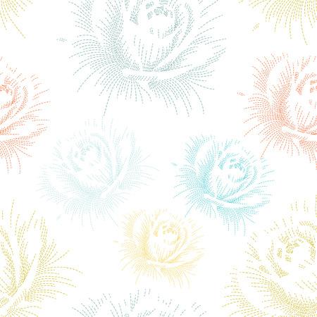 手描きのバラの色のシームレス パターン