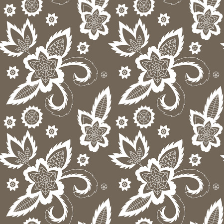 Hand drawn illustration of the flower seamless pattern.
