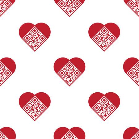 読みやすい赤芸術的な QR コードのシームレスなパターン。要素は、「愛してる! とハートの形でエンコードされたテキストです。  イラスト・ベクター素材