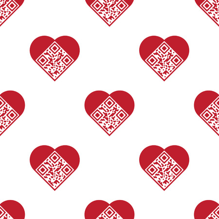 Readable red artistic QR Code seamless pattern. Elements are in shape of heart with I Love You! text encoded.