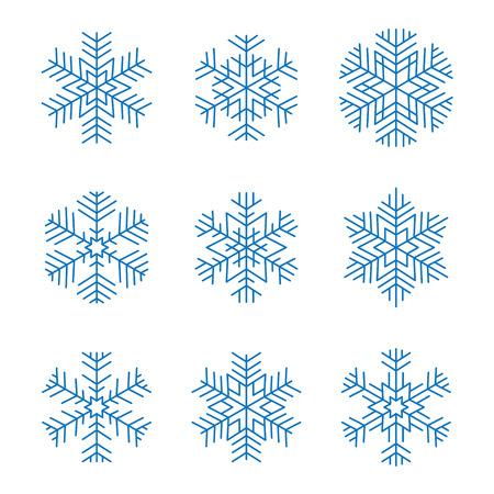 Set of blue graphic design snowflakes isolated Ilustracja