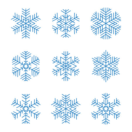 Set of blue graphic design snowflakes isolated Stock Illustratie