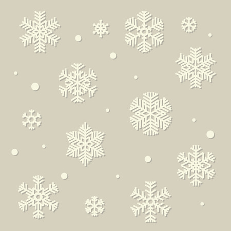 Collection of vector white paper style snowflakes