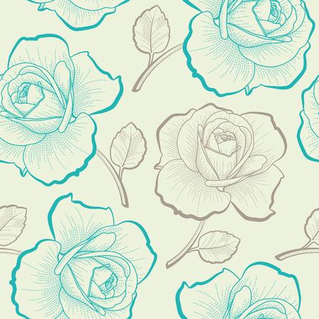 手描きのバラとパステル カラーのシームレスなパターン  イラスト・ベクター素材
