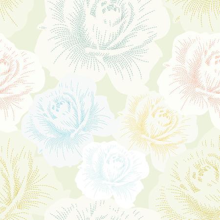 Farbe nahtlose Muster mit Hand Zeichnen Rosen Standard-Bild - 39106358