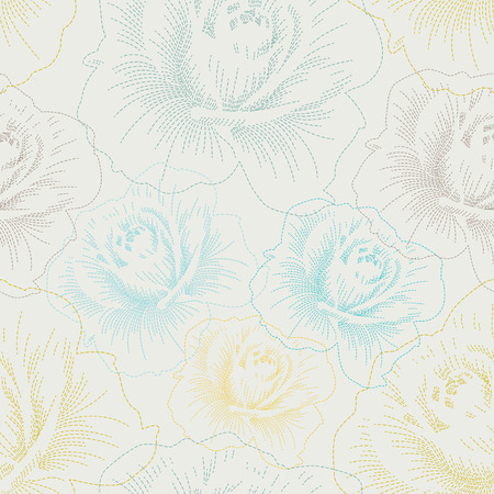 Color seamless pattern with hand drawing roses