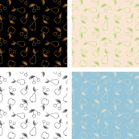 Set of seamless pattern of fruits. Sketch of an apple, pear and cherry. Stock Illustratie