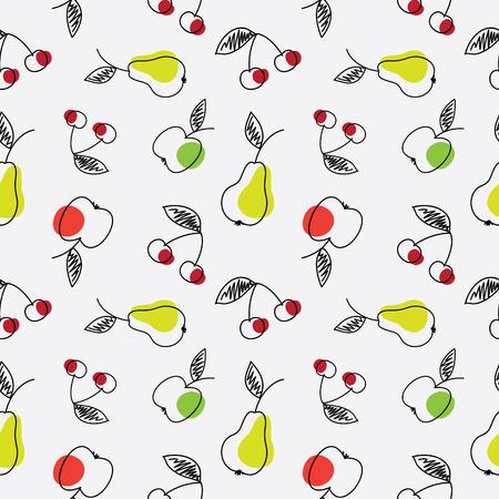 果物のシームレスなテクスチャです。リンゴ、梨、チェリーの抽象的なスケッチをします。  イラスト・ベクター素材