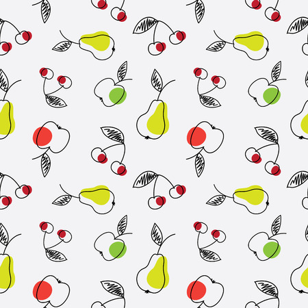 Fruits seamless texture. Abstract sketch of an apple, pear and cherry. Stock Illustratie