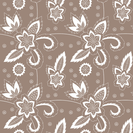 Hand drawn illustration of the flower seamless pattern