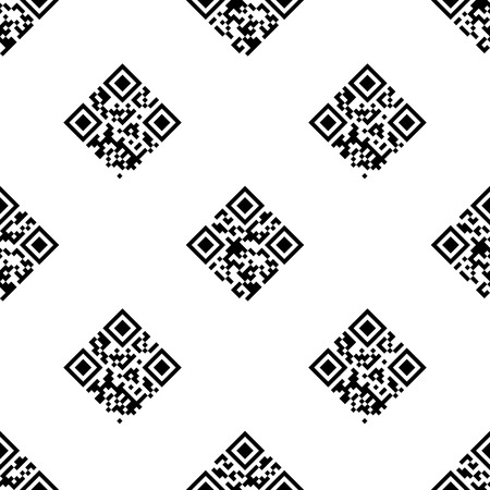 QR コード エンコードされた「情報」と「データ」の言葉でシームレスですパターン。