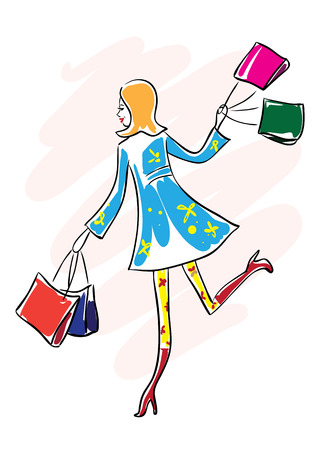 Illustration of a pretty happy young woman in blue coat and red boots running with shopping bags.