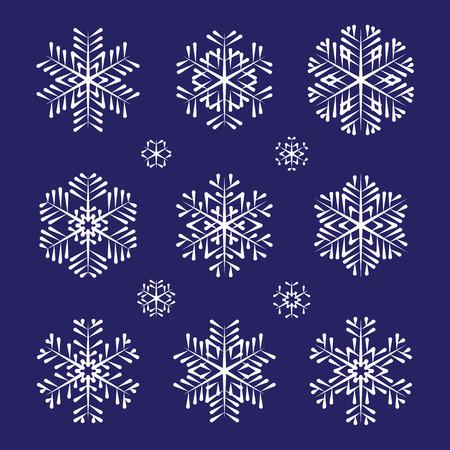 スケッチ ベクトル白い雪片のコレクション