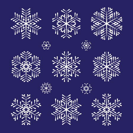 Collection of sketch vector white snowflakes Ilustracja